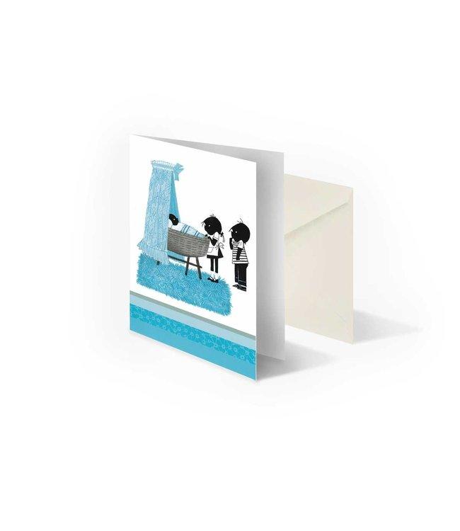 Bekking & Blitz Jip en Janneke bij wieg, blauw', gevouwen ansichtkaart