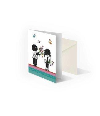 Bekking & Blitz Jip en Janneke met bloemen', gevouwen ansichtkaart