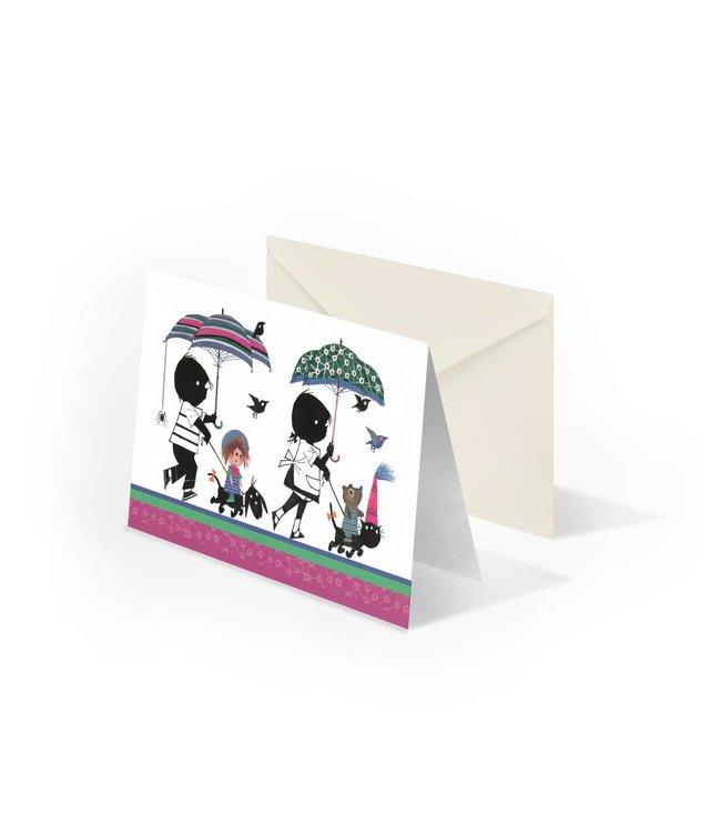 Bekking & Blitz Jip en Janneke met paraplu's', gevouwen ansichtkaart