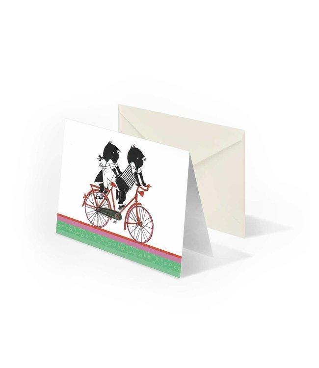 Wenskaart 'Jip en Janneke op de fiets', Fiep Westendorp