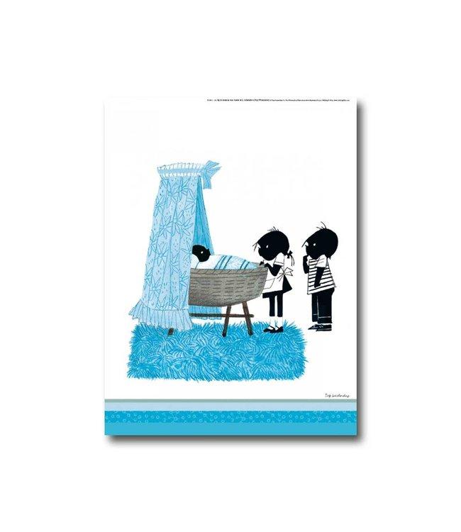 Jip en Janneke poster 'Wiegje' - blauw - 30 x 40 cm