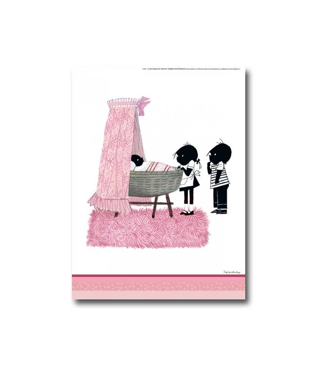 Bekking & Blitz Jip en Janneke poster 'Wiegje' - roze - 30 x 40 cm
