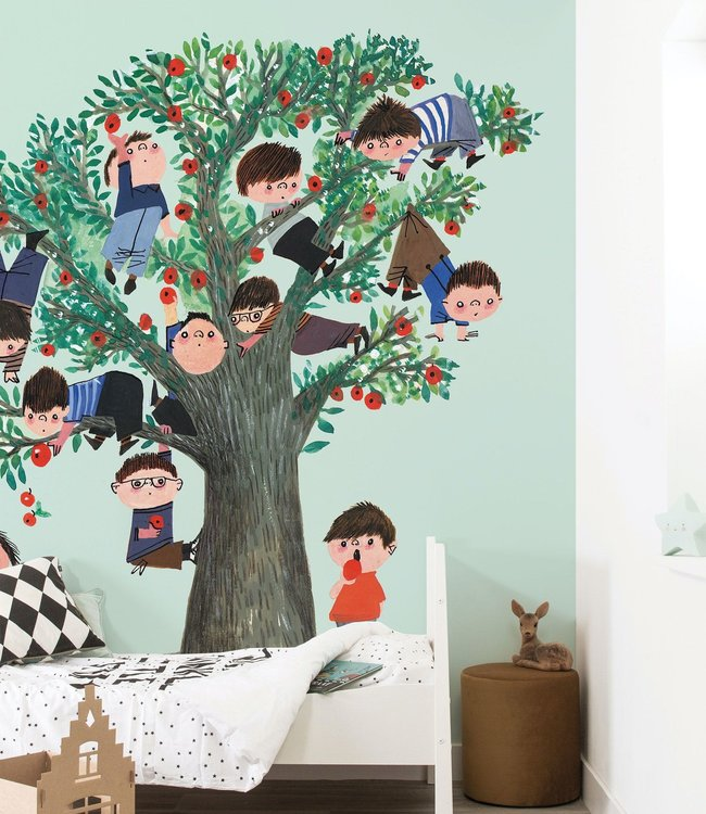 Kinderkamerbehang appelboom, groen - Fiep Westendorp