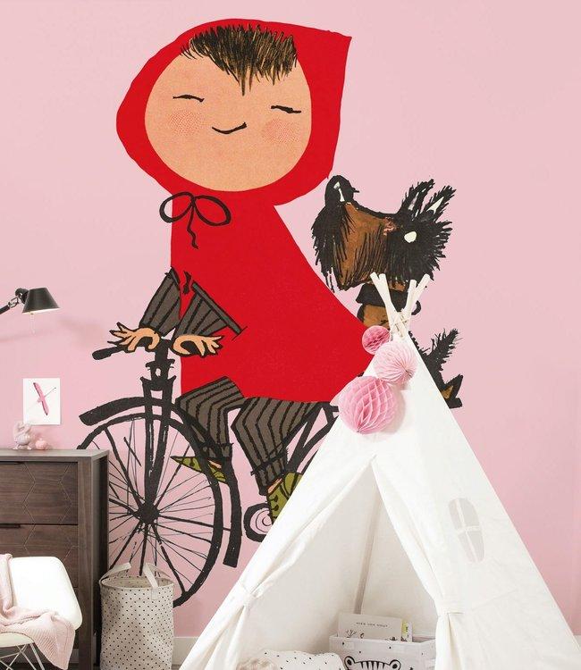 Kek Amsterdam Fiep Westendorp Photo wallpaper 'Girl on bicycle', pink