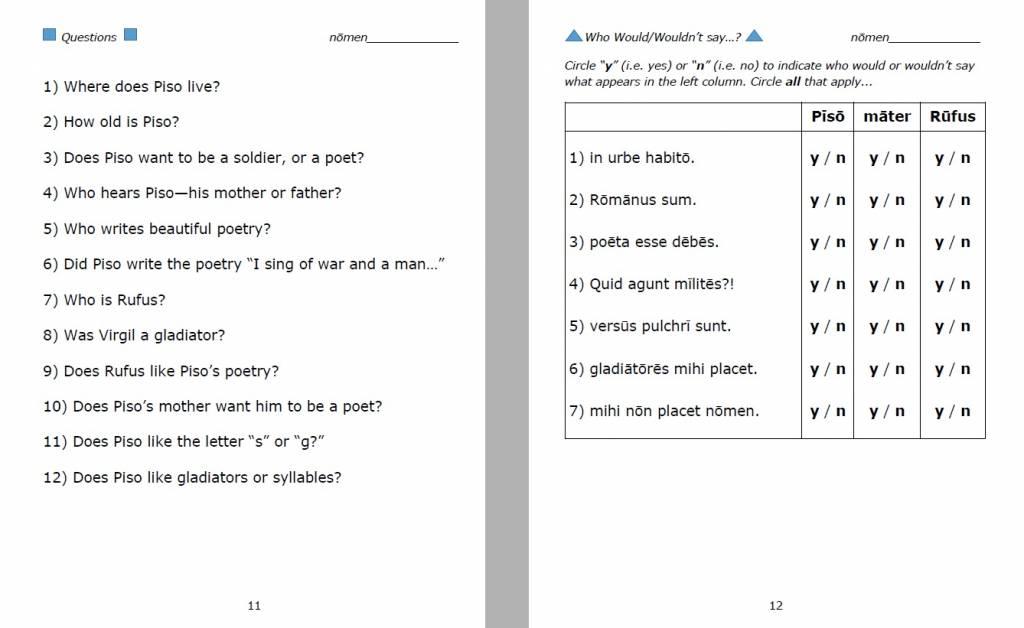 Pisō Ille Poētulus - Student Workbook