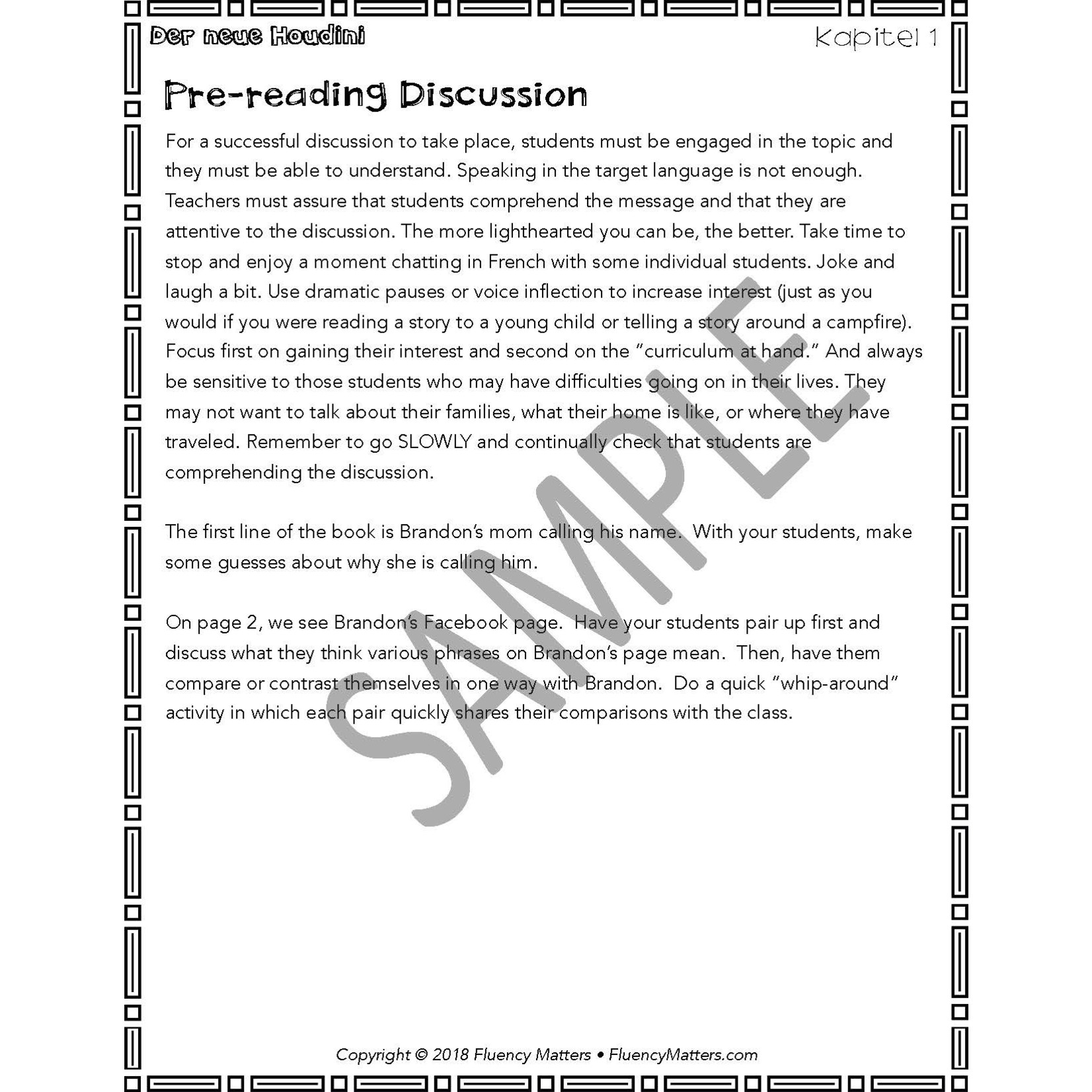 Fluency Matters Der Neue Houdini - Teacher's Guide