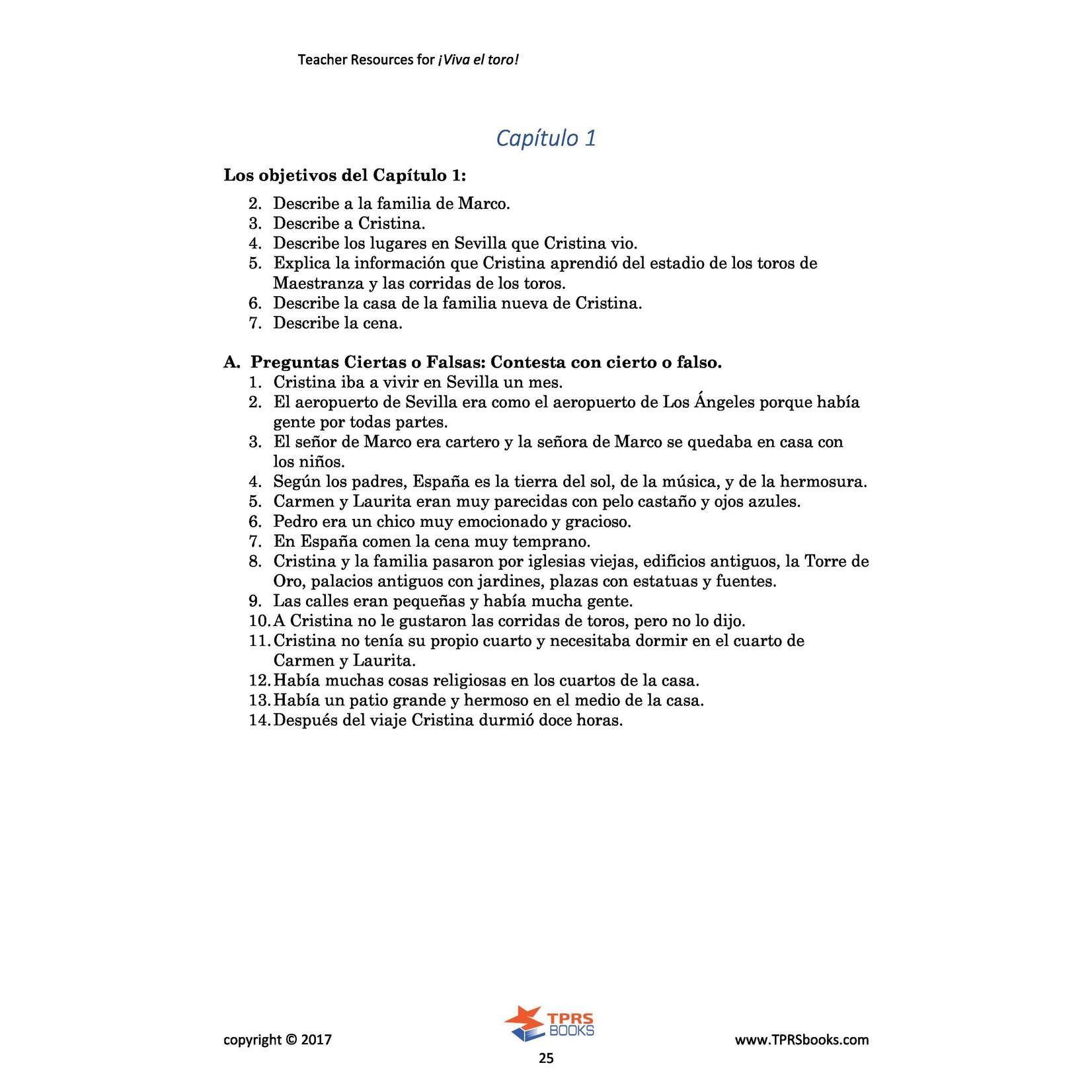 TPRS Books Viva el toro - Teacher's Guide