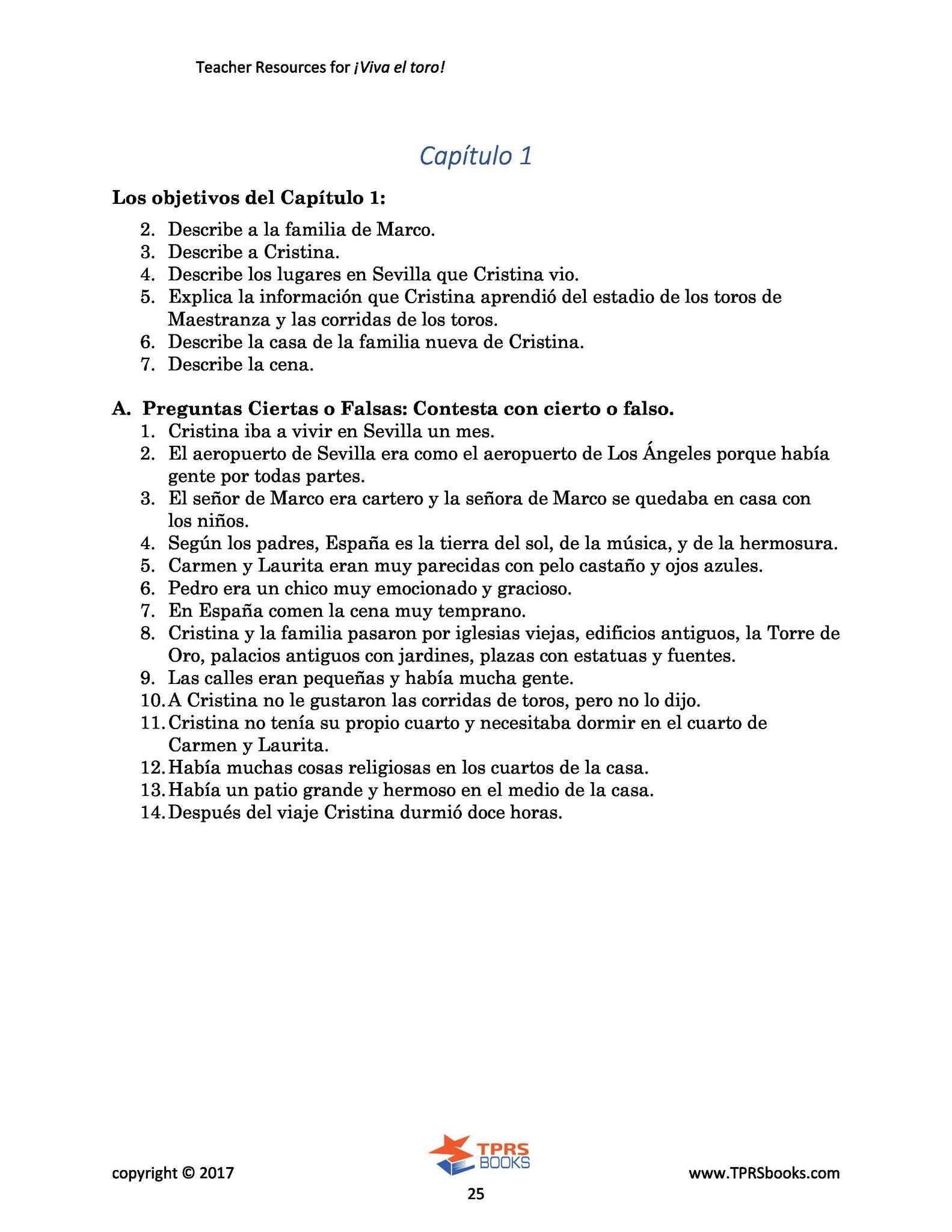 Viva el toro - Teacher's Guide
