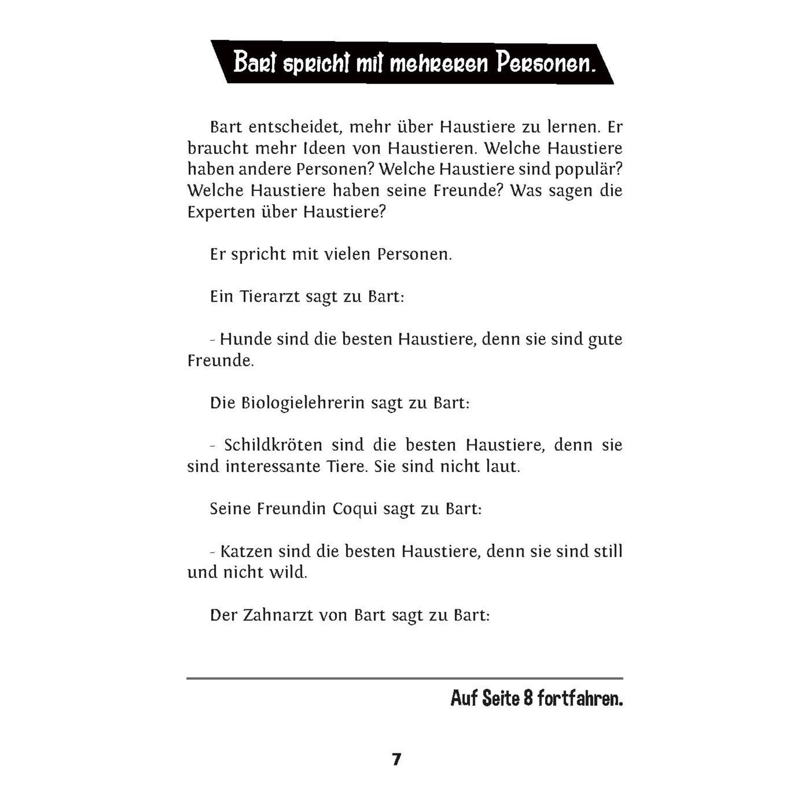 TPRS Books Bart will eine Katze