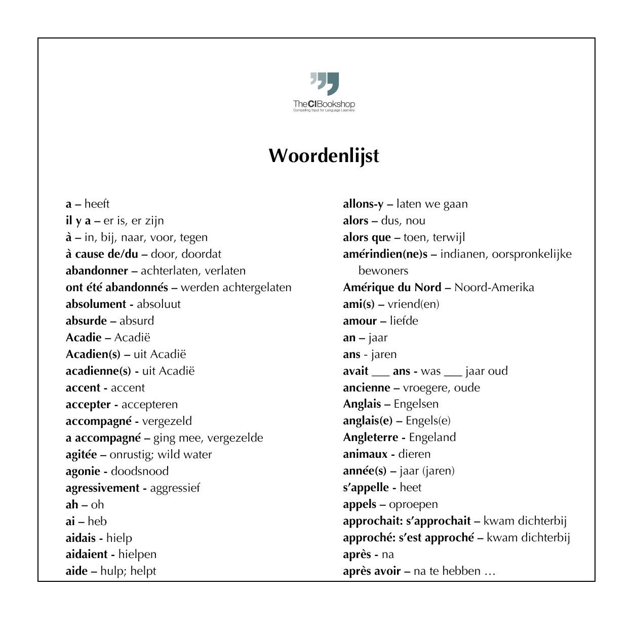 Dutch glossary for Au revoir l'Acadie