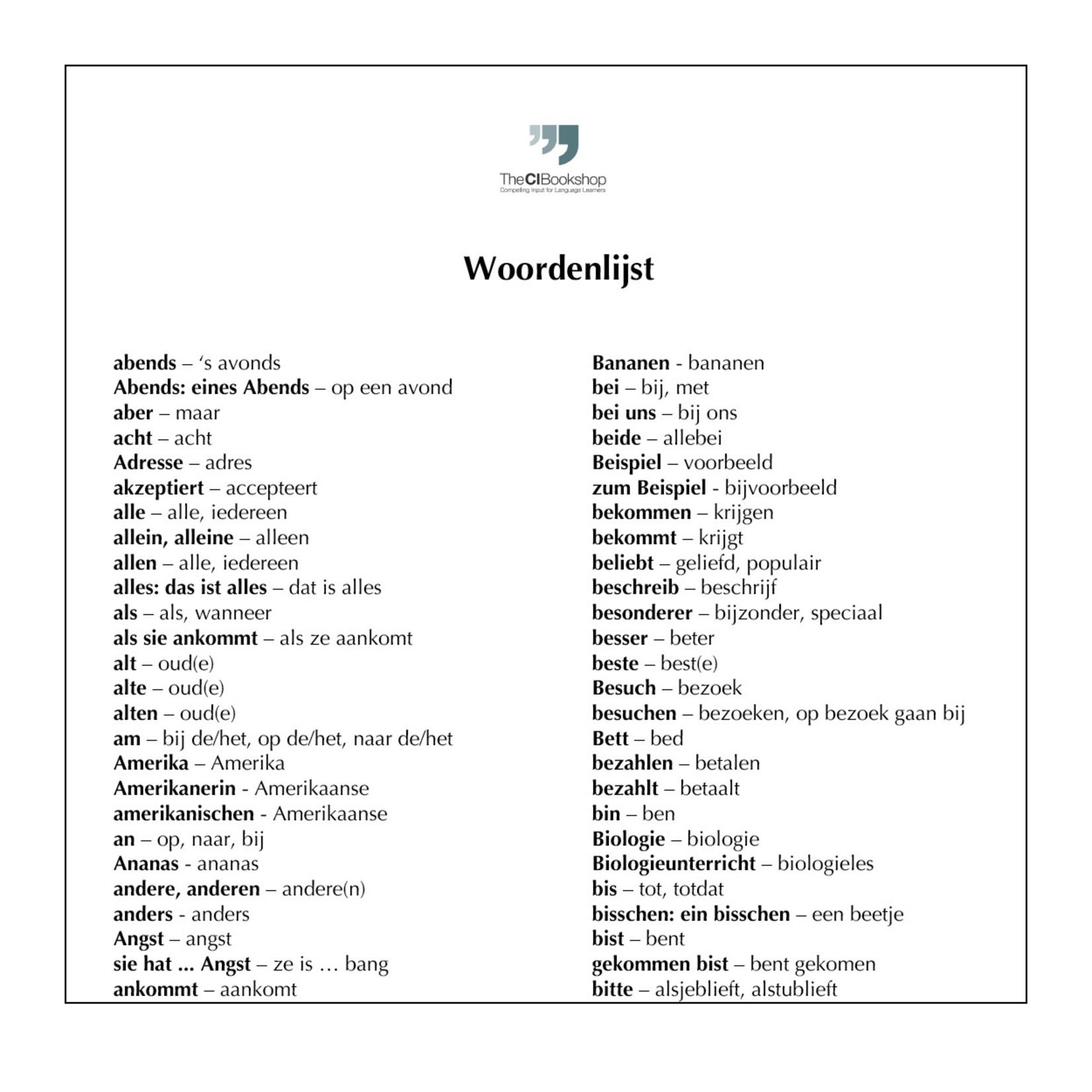 Dutch glossary for Neue Schule, neue Freunde