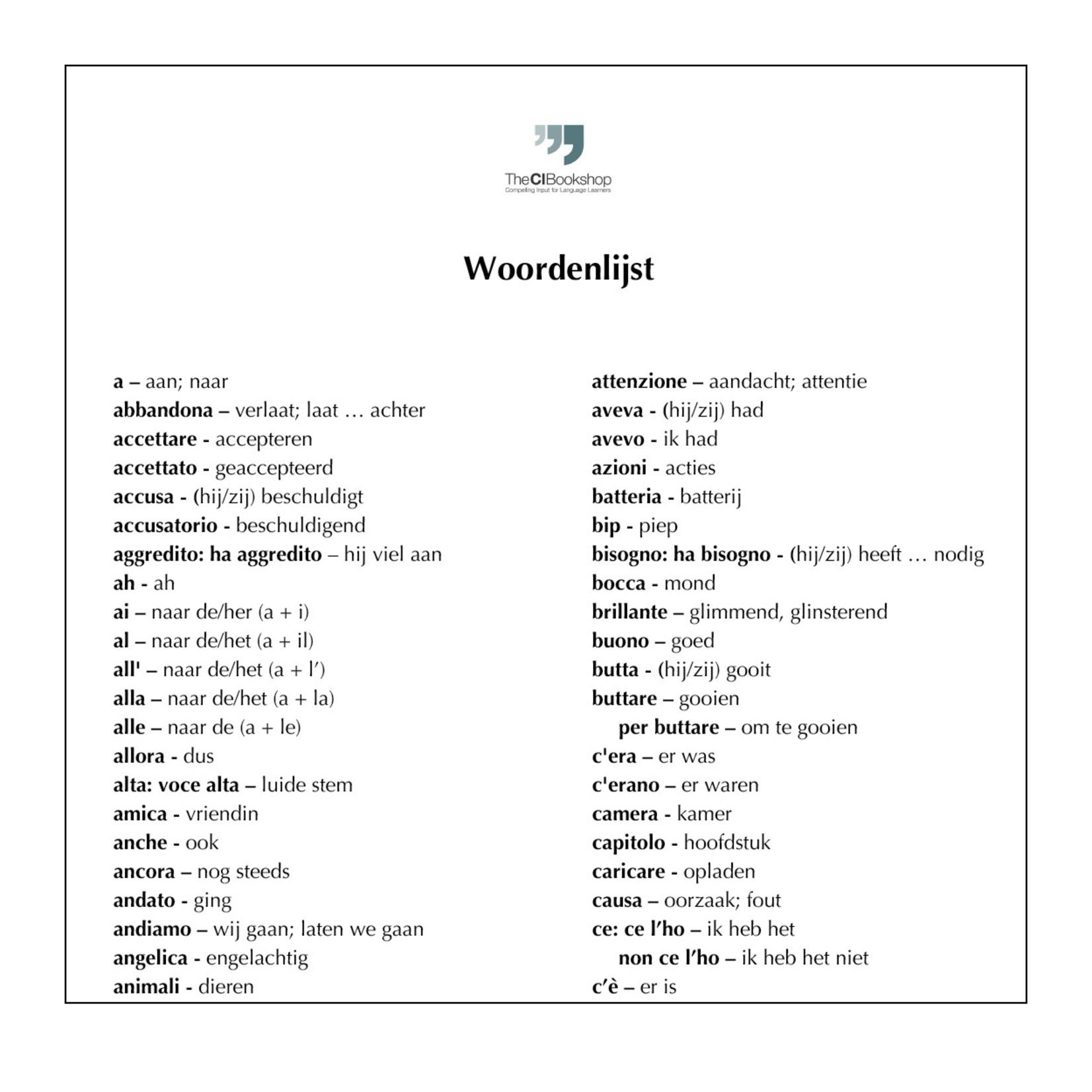 Dutch glossary for Povera Anna