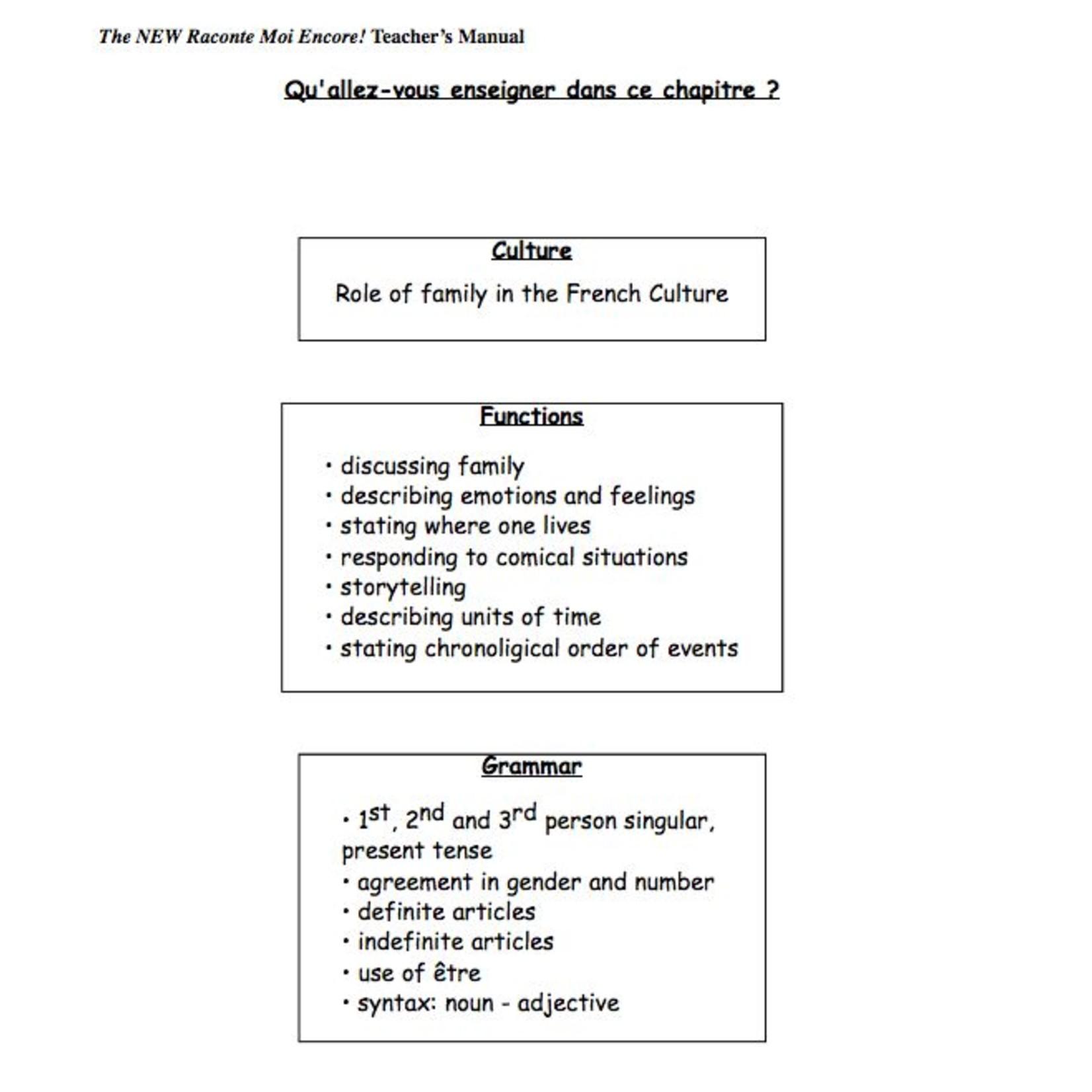 Fluency Matters Teacher's Manual for The NEW Raconte-moi encore!