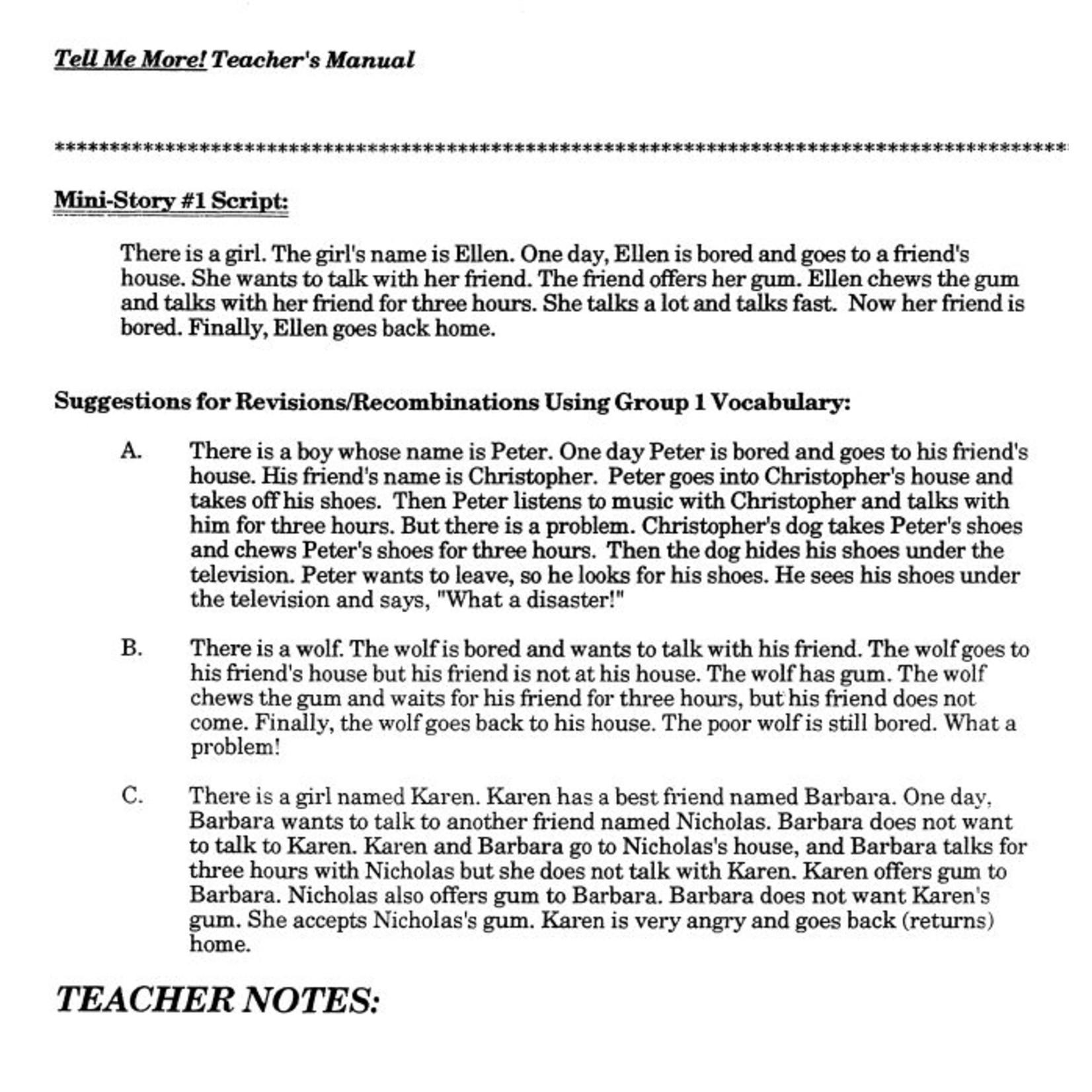Fluency Matters Tell me more! Teacher's Manual