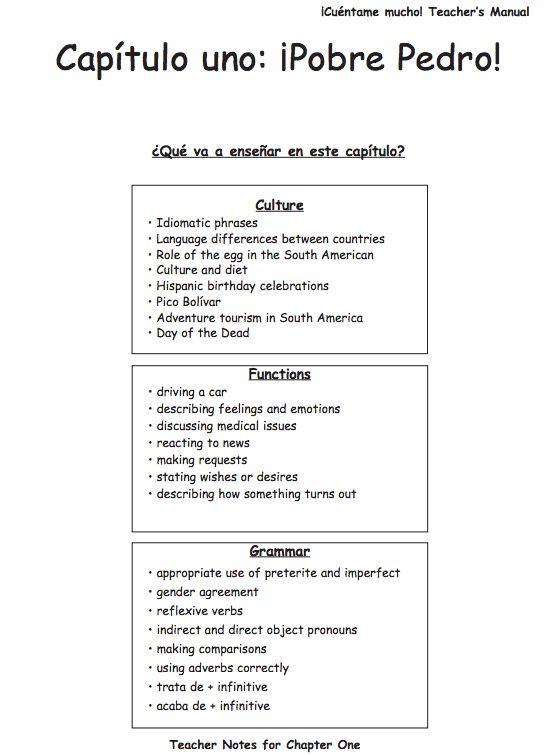 ¡Cuéntame mucho! Teacher's Manual