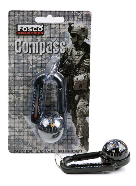 Karabijnhaak met kompas en thermometer