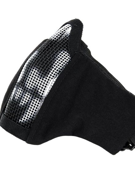 Airsoft face mask nylon/mesh with skull zwart