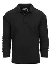 Tactical polo Quick Dry lange mouw Zwart