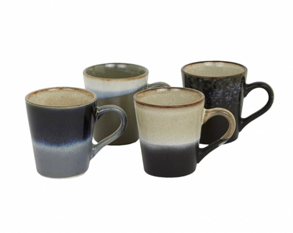 HK Living Espresso Kopjes - Retro Style / Set van 4