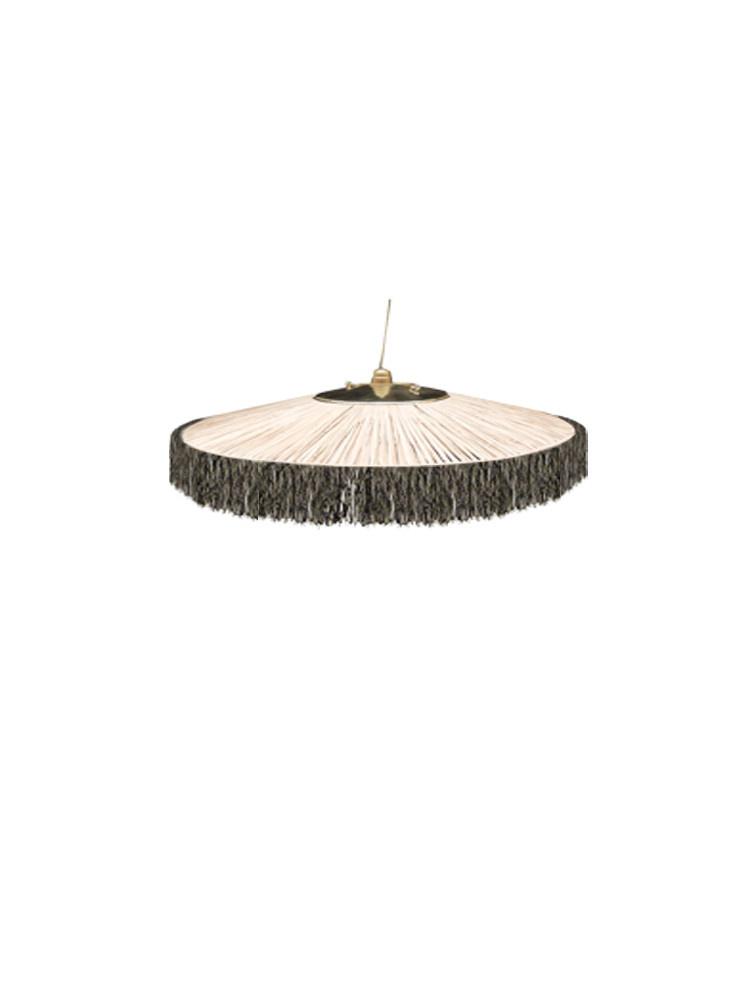 Honoré Décoration Hang Lamp Raffia - Zwart