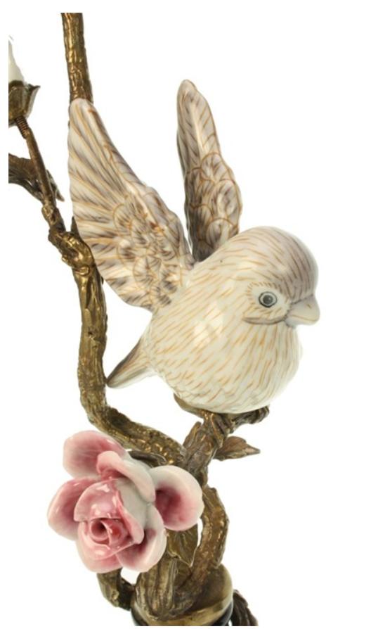 Kandelaar Vogel op Tak - Wit