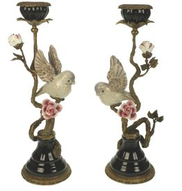 Bird on Branch Candlestick - White