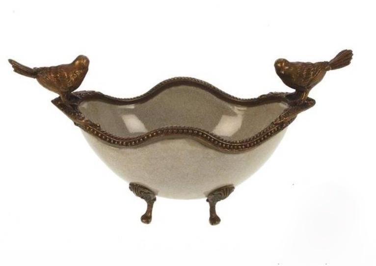 Footed Dish with Birds - Crackle