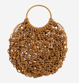 Madam Stolz Macrame Round Bag - Honey Yellow