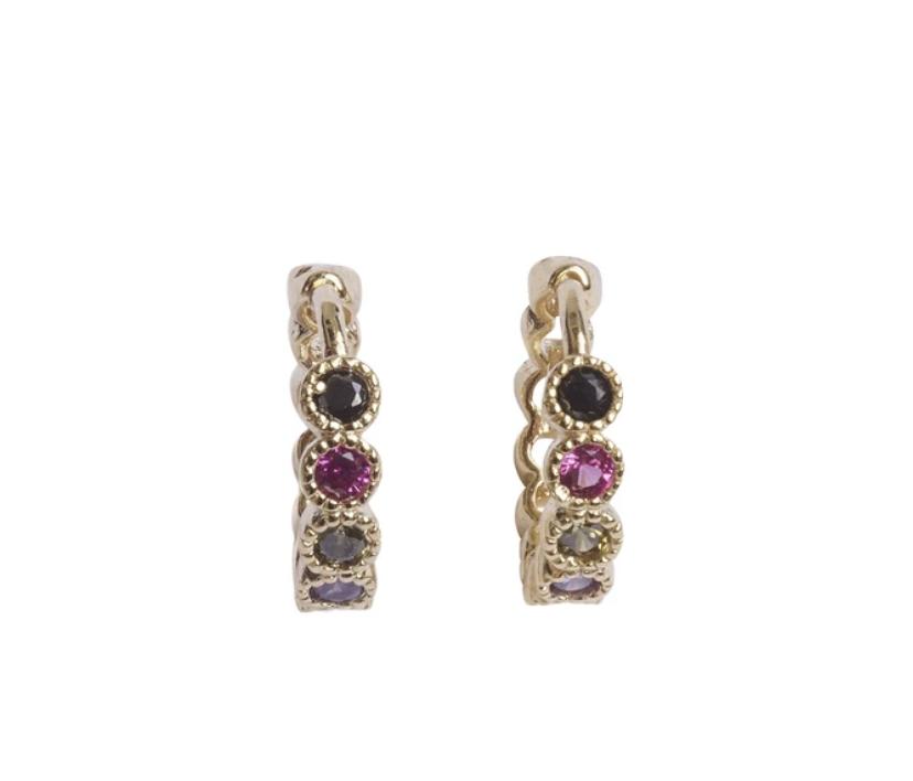 Bobby Rose Earring Swarovski Clip - Multi color