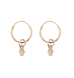 Bobby Rose Earring - White Hamsa
