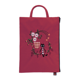Small Bag Embroidered  Cat - Bordeaux