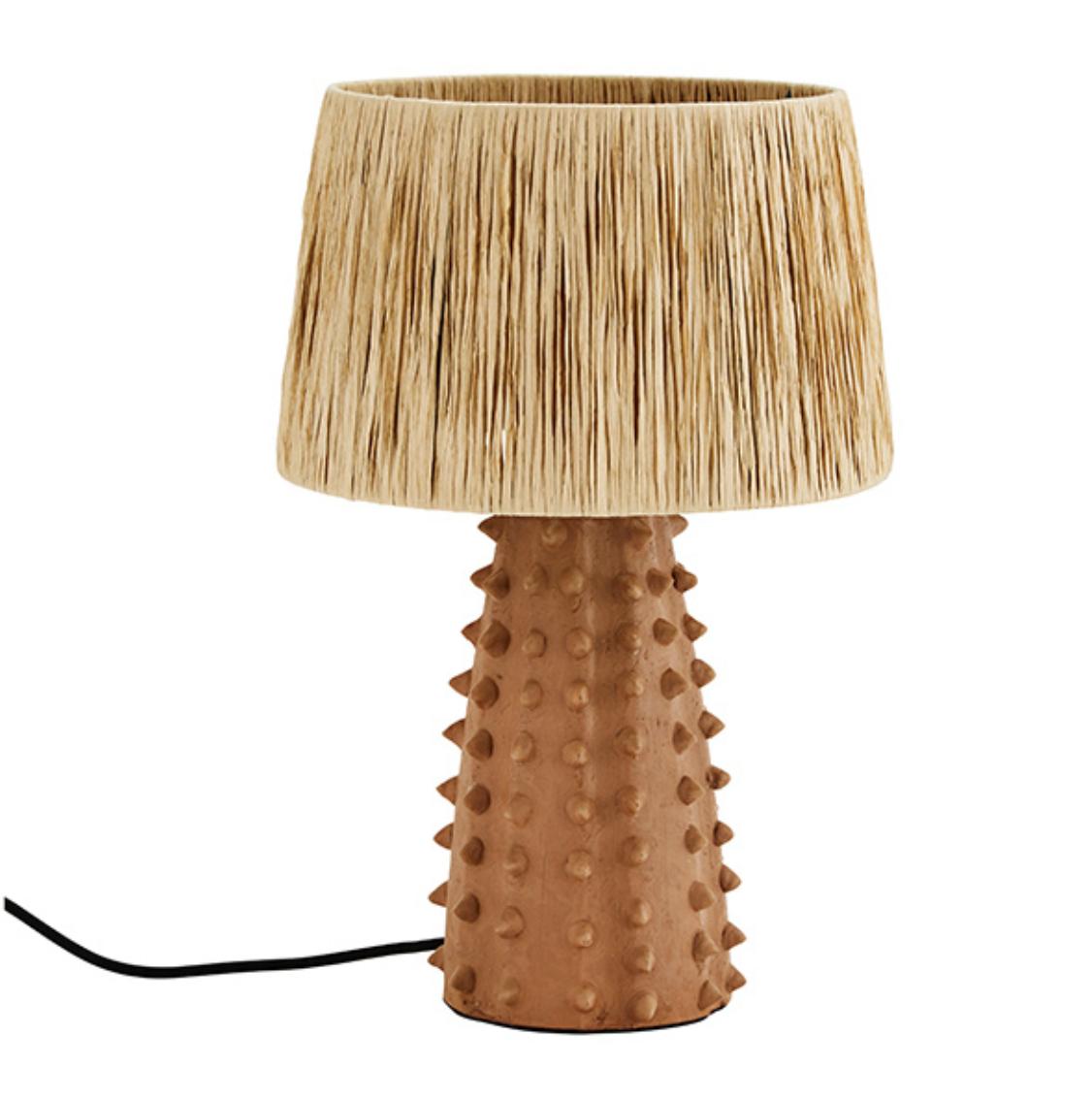 Madam Stolz Tafellamp Terracotta met Raffia Kap