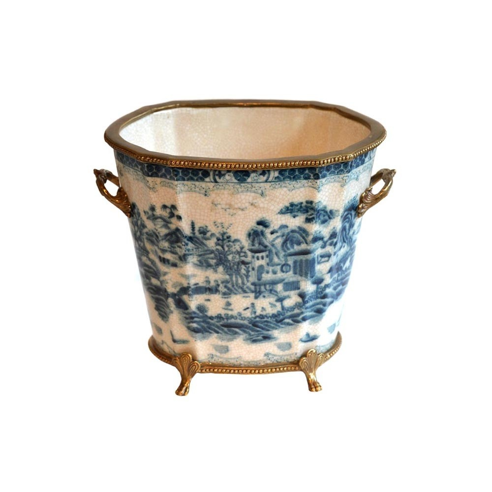 Planter Pot Blue/White