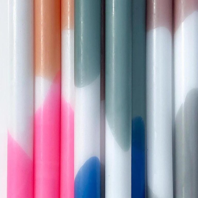 Tie Dye Kaarsen - Blauw/Wit/Groen (set van 2)