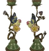 Bird on Branch Candlestick - Multi Color