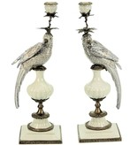 Candle Holder Parrot - White /Gold