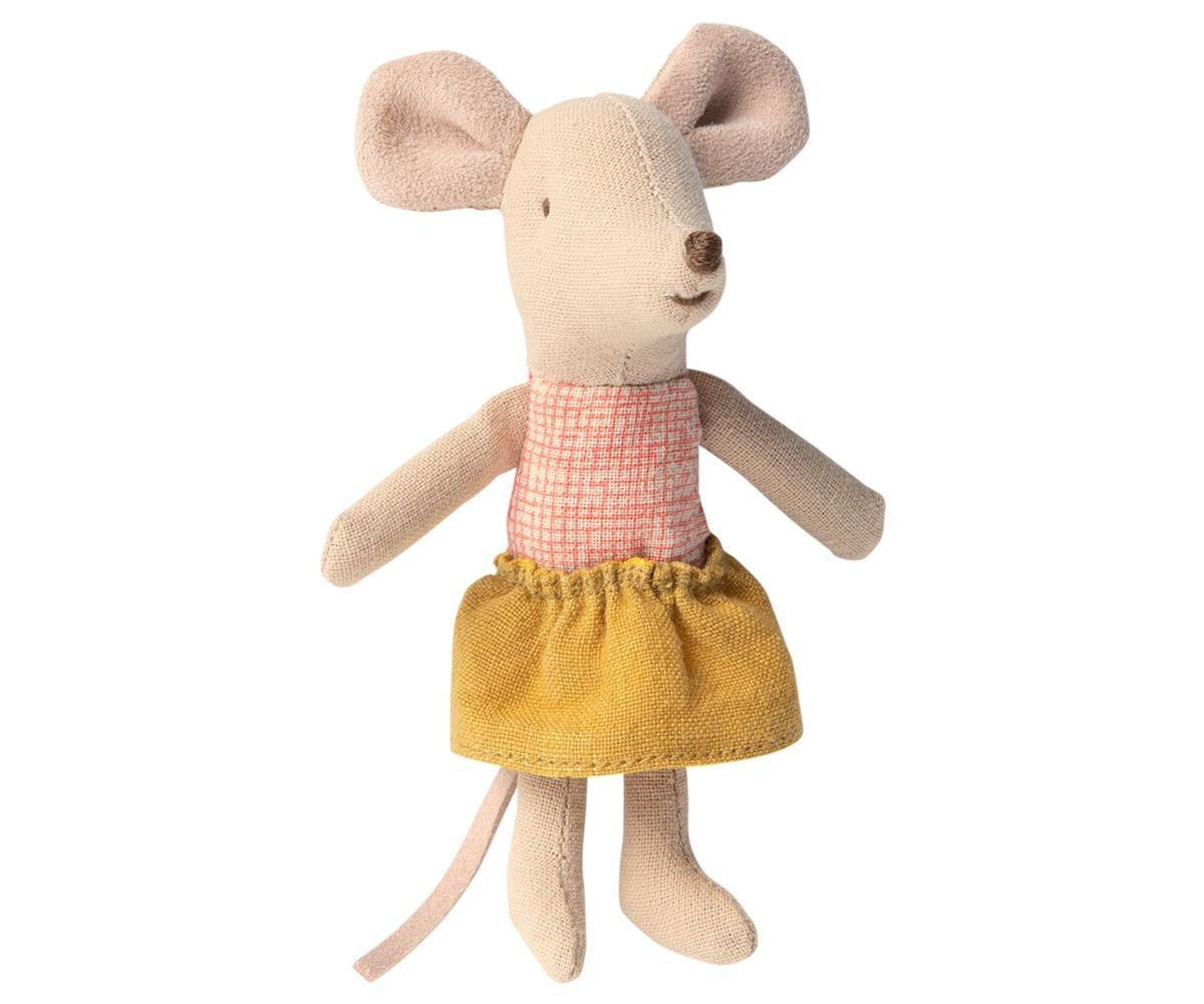 Maileg Mouse in Matchbox - Little Sister Yellow skirt