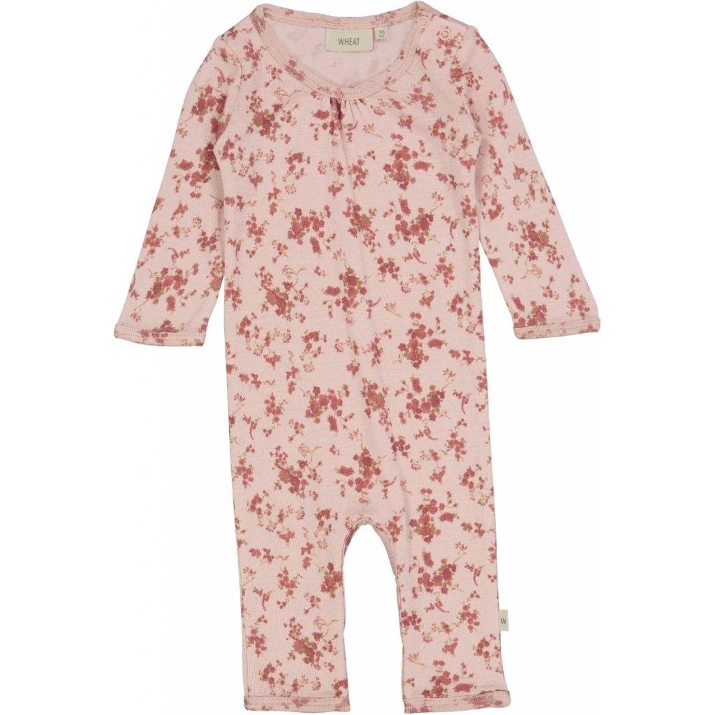 Wheat Wool Jumpsuit - Rose Flowers