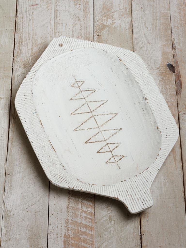 Large Bowl Fish Wood - White