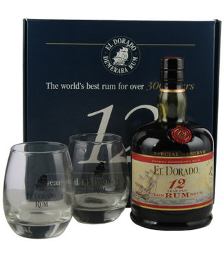 El Dorado El Dorado Rum 12 Years Old 700ml + 2 Glasses Gift box