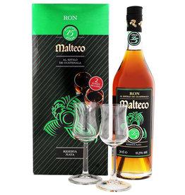 Malteco 15 years old rum + 2 glasses