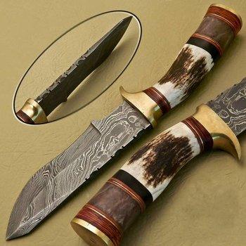 Citizen Knives Jagd Messer aus Damaskus Stahl und Hirsch-Horn