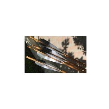 SkyArt Archery. Komplett Bamboo Pfeil 5 Zoll Natur Feder