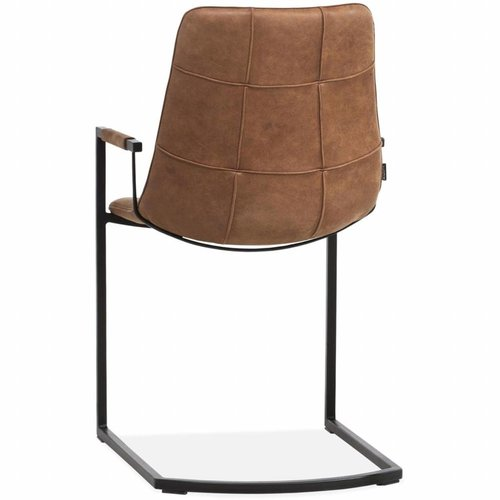 Chair Condor With Armrest And Freeswing Chassis In The Color Cognac Decomeubel