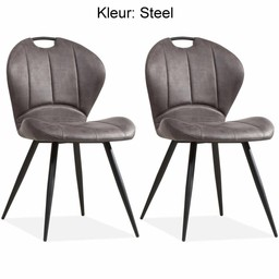 MX Sofa MX Sofa Dining room chair Miracle color: Steel set of 2 pieces