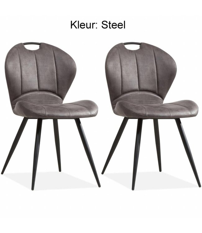 MX Sofa Dining room chair Miracle color: Steel set of 2 pieces