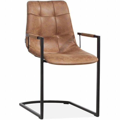 MX Sofa Condor chair with armrest and freeswing undercarriage in the color Cognac