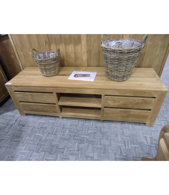 Decomeubel Teak TV Cabinet 4 Drawers, 2 open compartments