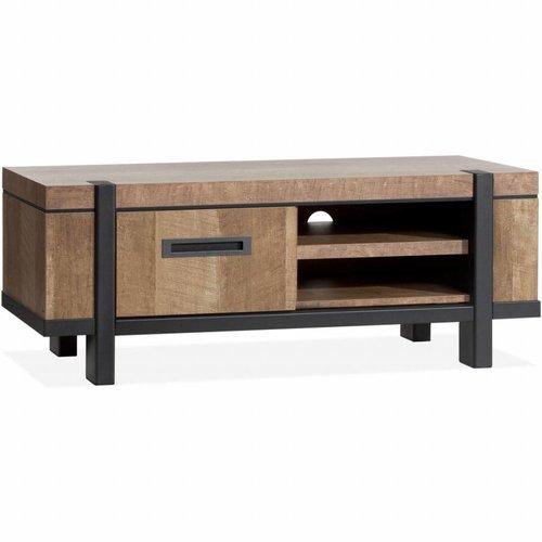 Lamulux TV Cabinet Binck - Lamulux Old Teak - 1 door, 2 open compartments