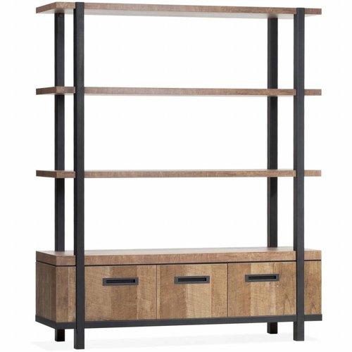 Lamulux Wall cabinet Binck - Lamulux Old Teak - 3 doors, 3 open compartments